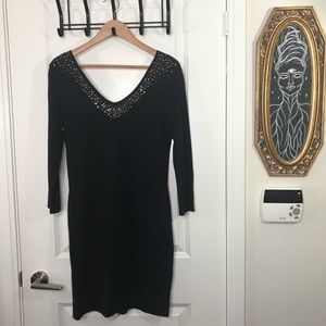 Bejewelled V Nick Black Dress Medium